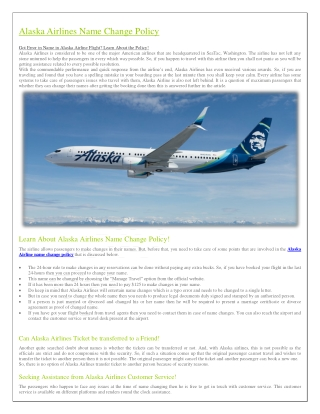 Alaska airlines name change policy
