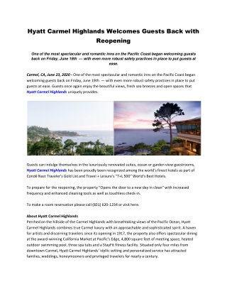 Hyatt Carmel Highlands Welcomes Guests Back with Reopening