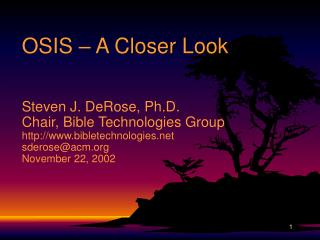 OSIS   A Closer Look