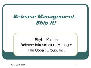Release Management – Ship It!