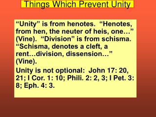 Things Which Prevent Unity
