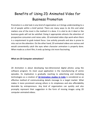 Benefits of Using 2D Animated Video for Business Promotion