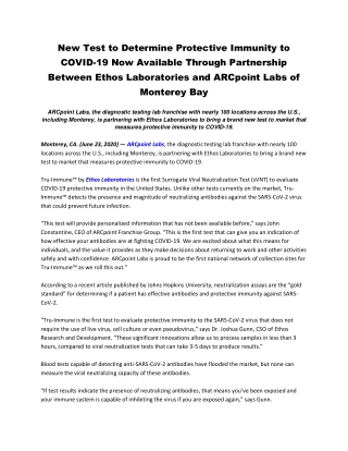 New Test to Determine Protective Immunity to COVID-19 Now Available Through Partnership