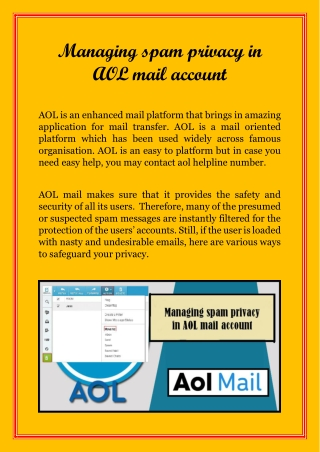 Managing spam privacy in AOL mail account