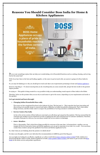 Reasons You Should Consider Boss India for Home & Kitchen Appliances
