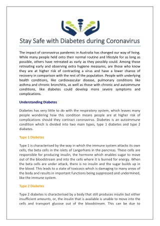 Stay Safe with Diabetes during Coronavirus