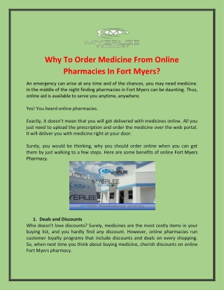 Find Best Pharmacies In Fort Myers