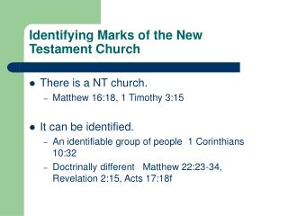 Identifying Marks of the New Testament Church