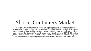 Sharps Containers Market