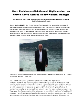 Hyatt Residences Club Carmel, Highlands Inn has Named Rance Ryan as its new General Manager