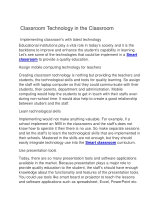 Classroom Technology in Classroom