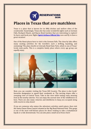 Places in Texas that are matchless