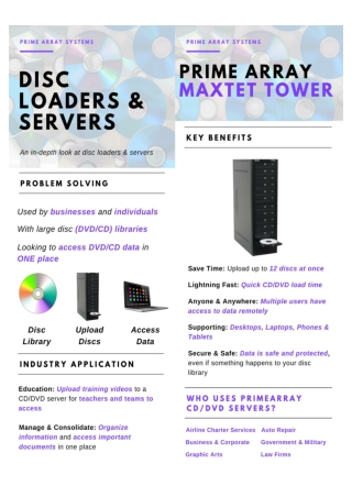Disc Loaders, Servers and Maxtet Tower - PrimeArray