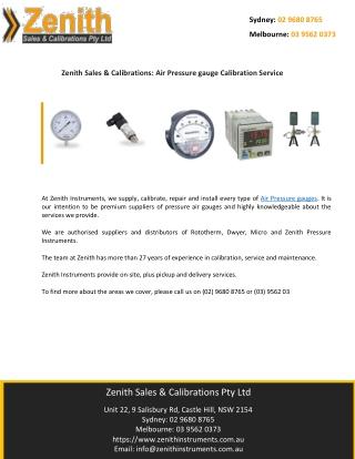 Zenith Sales & Calibrations: Air Pressure gauge Calibration Service