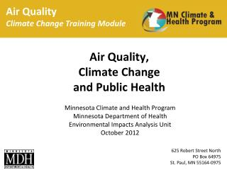 Air Quality Climate Change Training Module