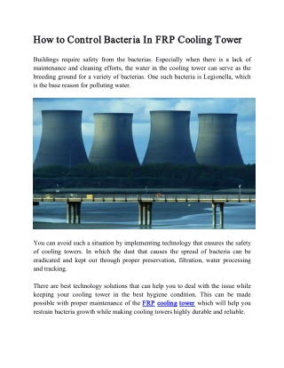 How to Control Bacteria In FRP Cooling Tower