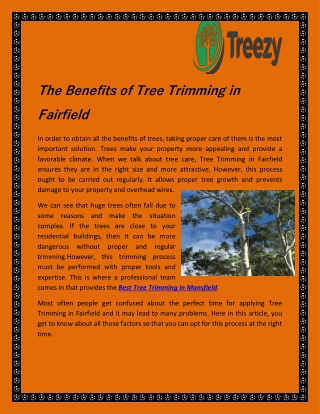 The Benefits of Tree Trimming in Fairfield