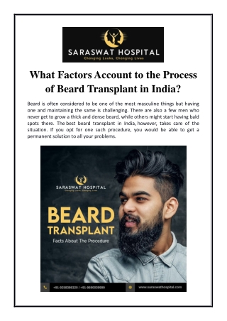 What Factors Account to the Process of Beard Transplant in India?