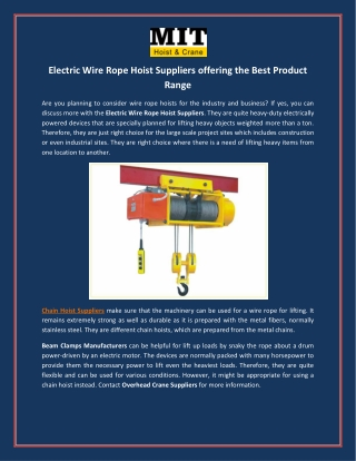 Electric Wire Rope Hoist Suppliers offering the Best Product Range
