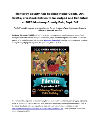 Monterey County Fair Seeking Home Goods, Art, Crafts, Livestock Entries to be Judged and Exhibited at 2020 Monterey Coun