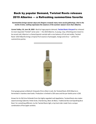 Back by popular Demand, Twisted Roots releases 2019 Albarino — a Refreshing summertime favorite