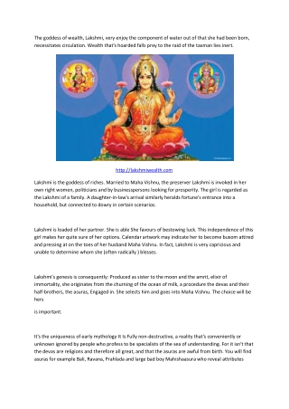 Lakshmi the Goddess of wealth