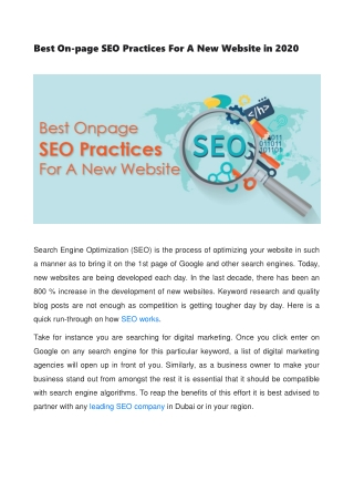 Best On-page SEO Practices For A New Website in 2020
