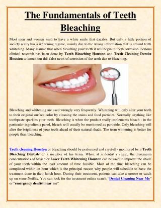 The Fundamentals of Teeth Bleaching