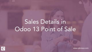 Sales Details in Odoo 13 Point of Sale