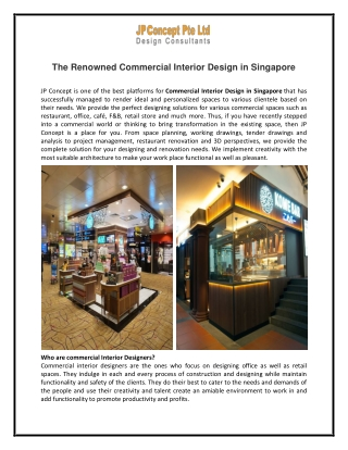 The Renowned Commercial Interior Design in Singapore- JP Concept