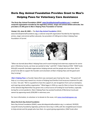 Doris Day Animal Foundation Provides Grant to Max's Helping Paws for Veterinary Care Assistance
