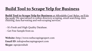 Build Tool to Scrape Yelp for Business