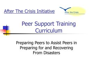 Peer Support Training Curriculum