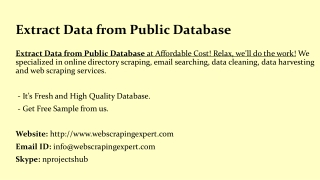 Extract Data from Public Database