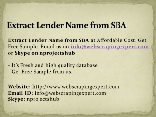 Extract Lender Name from SBA