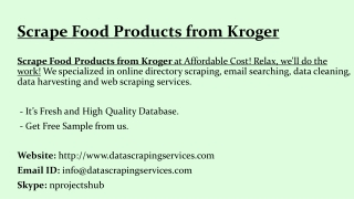 Scrape Food Products from Kroger