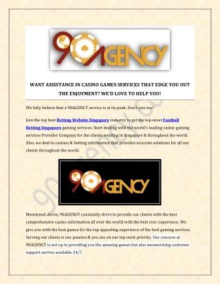 Singapore Football Betting, Soccer Betting, Betting Website 90agency.com