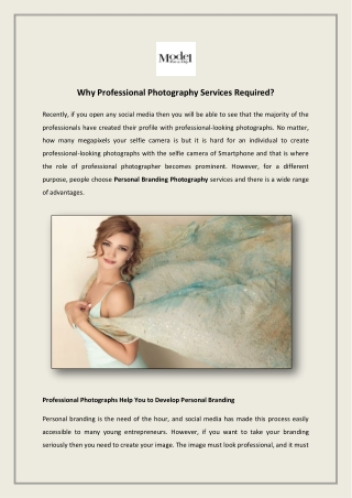 Why Professional Photography Services Required?