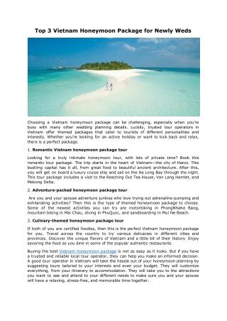 Top 3 Vietnam Honeymoon Package for Newly Weds
