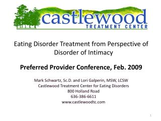 Eating Disorder Treatment from Perspective of Disorder of Intimacy Preferred Provider Conference, Feb. 2009