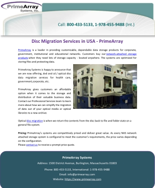Disc Migration Services in USA – PrimeArray