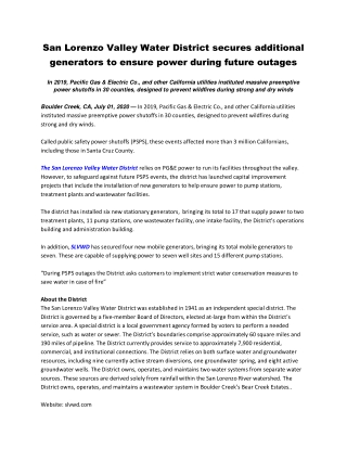 San Lorenzo Valley Water District secures additional generators to ensure power during future outages