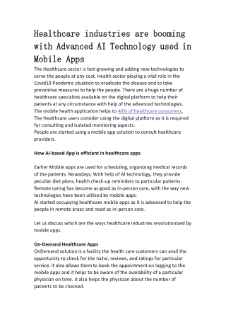 Healthcare industries are booming with Advanced AI Technology used in Mobile Apps