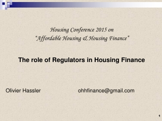 """Housing Conference 2015 on """"Affordable Housing & Housing Finance"""""""