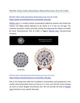 Marble Inlay India Rajasthan Rameshwaram Arts & Crafts