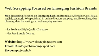 Web Scrapping Focused on Emerging Fashion Brands