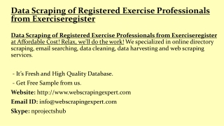 Data Scraping of Registered Exercise Professionals from Exerciseregister