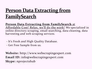 Person Data Extracting from FamilySearch