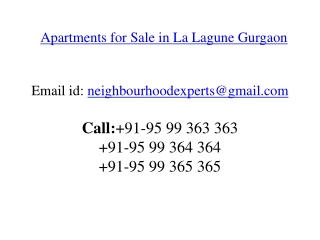 Apartments for Sale in La Lagune Gurgaon @ 9599363363