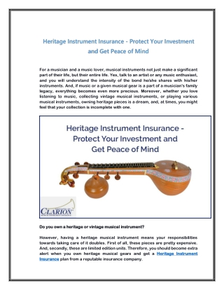 Heritage Instrument Insurance - Protect Your Investment and Get Peace of Mind